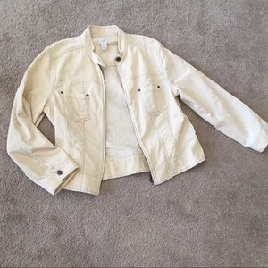 J.jill cream corduroy zip up jacket w/ pockets and